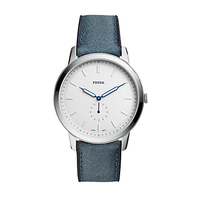 The Minimalist Two-Hand Blue Leather Watch