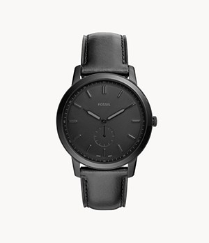 Herrenuhr The Minimalist Leder Schwarz
