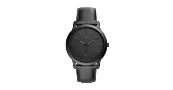 107082d25ed4 The Minimalist Two-Hand Black Leather Watch - Fossil