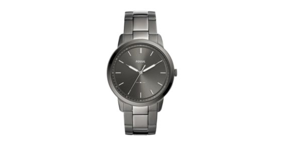 b1af75101971 The Minimalist Three-Hand Smoke Stainless Steel Watch - Fossil