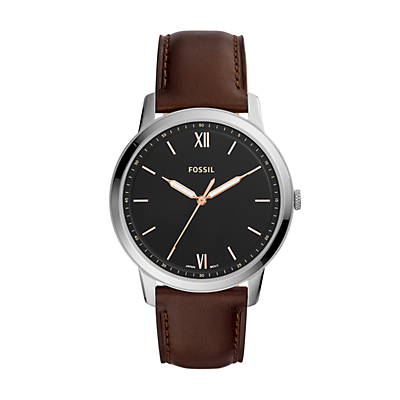 The Minimalist Three-Hand Brown Leather Watch