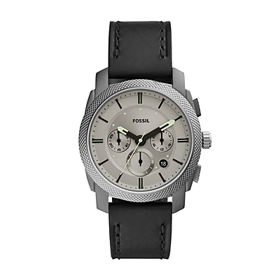 Machine Chronograph Black Leather Watch
