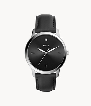 Herrenuhr The Minimalist Carbon Series Leder Schwarz