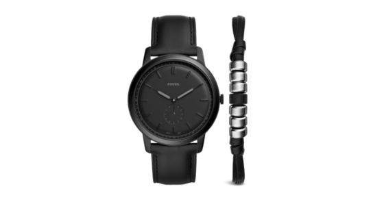 a042b66f5111 The Minimalist Two-Hand Sub-Second Black Leather Watch And Bracelet Box Set  - Fossil