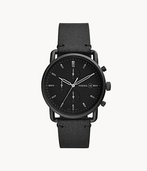 Herrenuhr The Commuter Chronograph Leder Schwarz