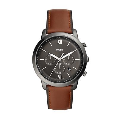 Montre chronographe Neutra avec bracelet en cuir ambre