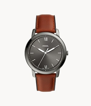 Herrenuhr The Minimalist Leder Cognac