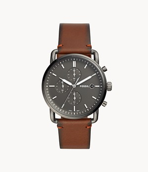 Herrenuhr The Commuter Chronograph Leder Rotbraun