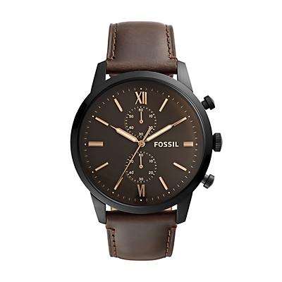 Montre chronographe Townsman en cuir brun