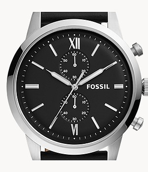 Townsman Chronograph Black Leather Watch