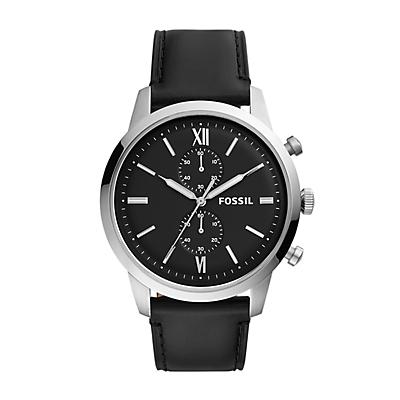 Montre chronographe Townsman en cuir noir