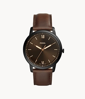 Minimalist Three-Hand Brown Leather Watch