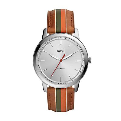 Minimalist Three-Hand Striped Tan Leather Watch