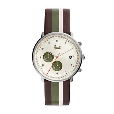 Chase Timer Chronograph Striped Brown Leather Watch