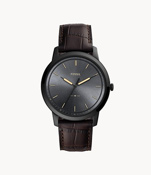 REFURBISHED The Minimalist Three-Hand Brown Leather Watch
