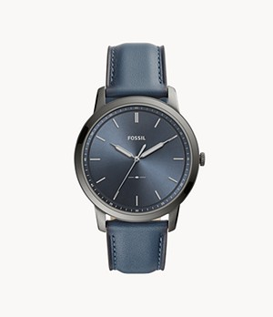 Herrenuhr The Minimalist Leder Jeansblau