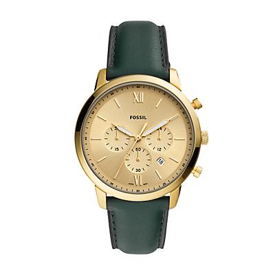Montre chronographe Neutra en cuir vert foncé