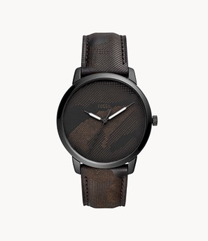 Neutra Three-Hand Black Camo Leather Watch
