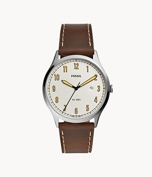 Forrester Three-Hand Date Brown Leather Watch