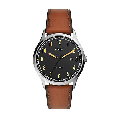 Forrester Three-Hand Date Luggage Leather Watch