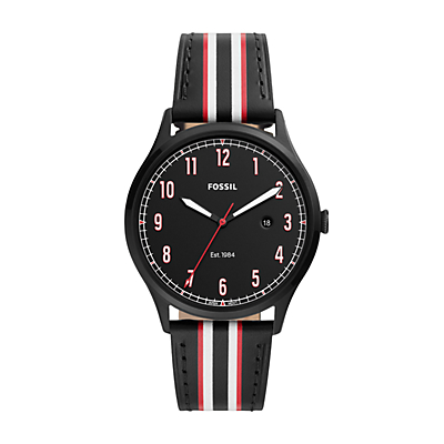Forrester Three-Hand Date Striped Black Leather Watch