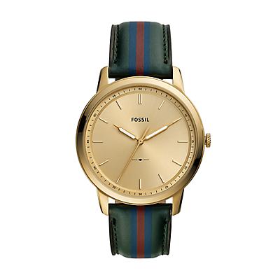 The Minimalist Three-Hand Striped Dark Green Leather Watch