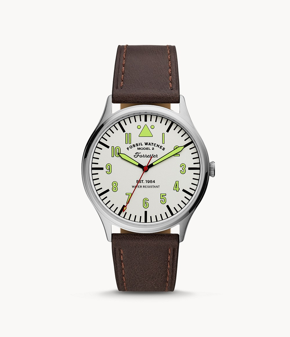 Fossil Forrester Three-Hand Brown Leather Watch