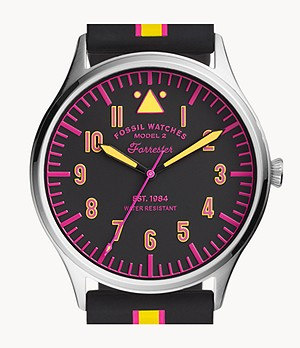 Forrester Three-Hand Striped Black Silicone Watch