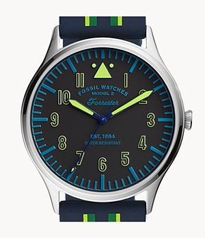 Forrester Three-Hand Striped Navy Silicone Watch