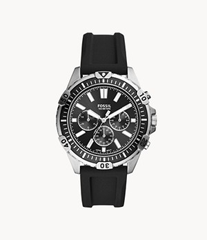 Garrett Chronograph Black Silicone Watch