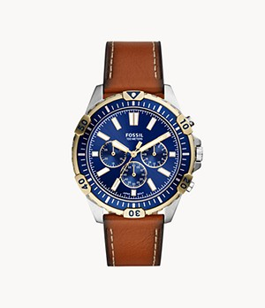 Garrett Chronograph Luggage Leather Watch