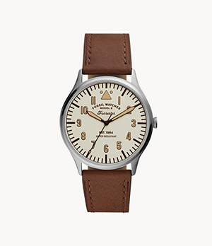 Forrester Three-Hand Brown Leather Watch