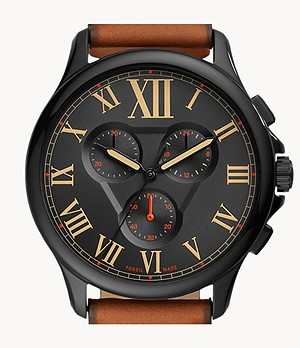 Monty Chronograph Brown Leather Watch