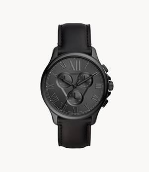 Monty Chronograph Black Leather Watch