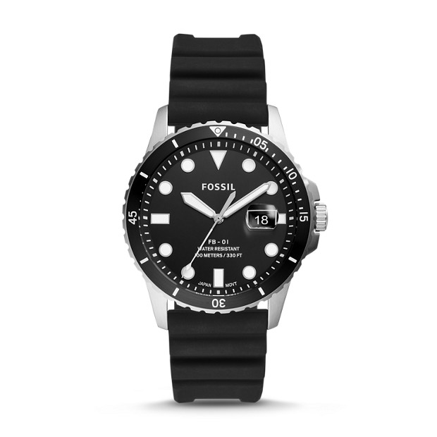 Fossil FB-01 FS5660P THREE-HAND DATE BLACK SILICONE WATCH