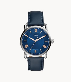 Copeland 42-mm Three-Hand Navy Leather Watch