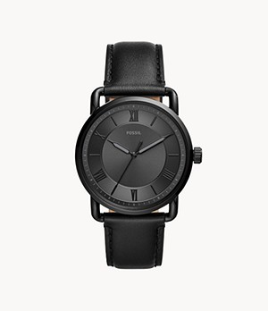 Copeland 42-mm Three-Hand Black Leather Watch