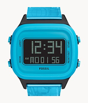 Montre Retro Digital à cristaux liquides en nylon bleu fluo