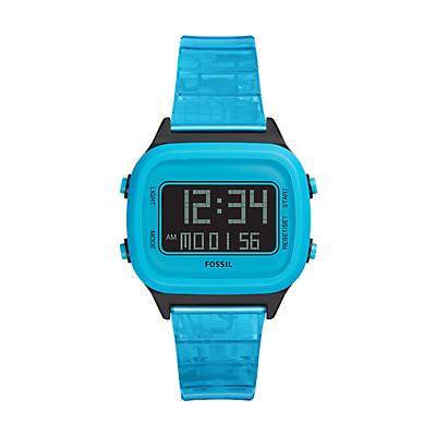 Retro Digital LCD Neon Blue Nylon Watch