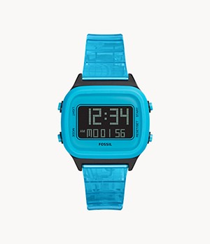 Herrenuhr Retro Digital LCD - PU - Neonblau