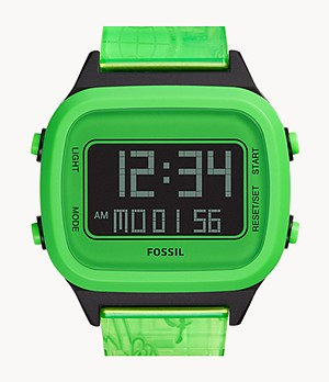 Montre Retro Digital à cristaux liquides en nylon vert fluo