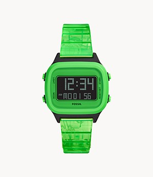 Herrenuhr Retro Digital LCD - PU - Neongrün