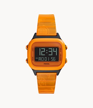 Montre Retro Digital à cristaux liquides en nylon orange fluo