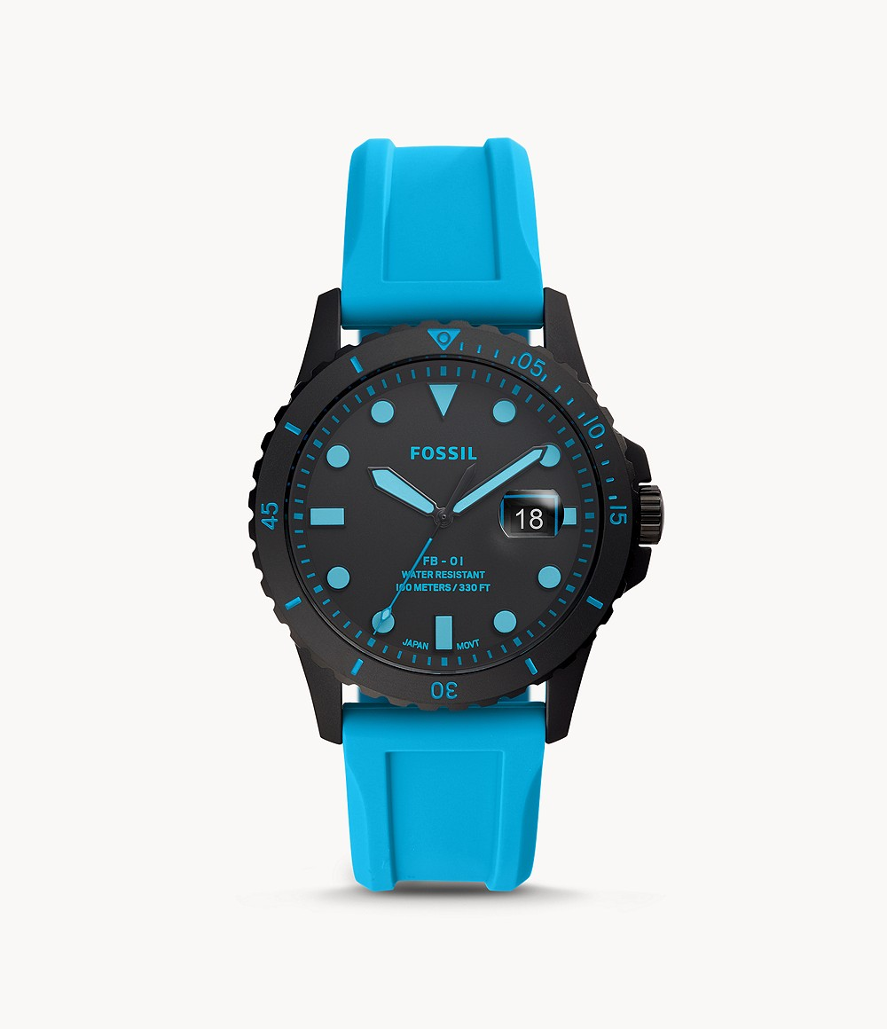 FB-01 Three-Hand Date Neon Blue Silicone Watch - FS5682 - Fossil