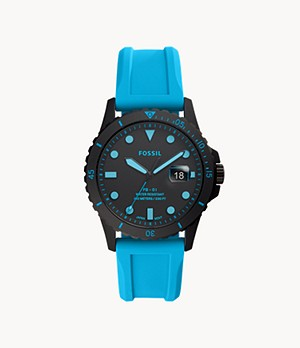 FB-01 Three-Hand Date Neon Blue Silicone Watch