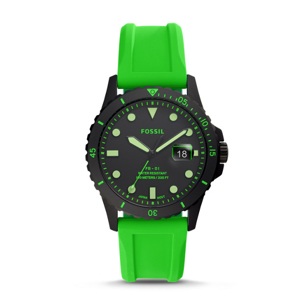 Fb 01 Three Hand Date Neon Green Silicone Watch by Fossil