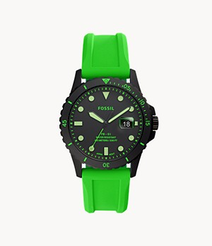 FB-01 Three-Hand Date Neon Green Silicone Watch