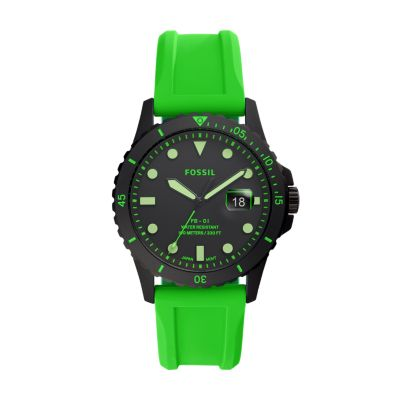 Fb 01 Three Hand Date Neon Green Silicone Watch Fs5683 Fossil