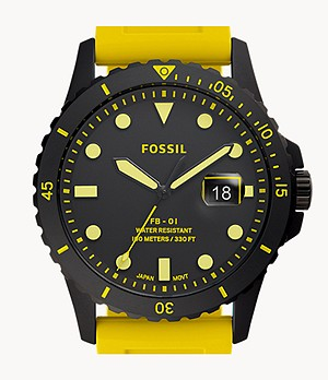 FB-01 Three-Hand Date Yellow Silicone Watch