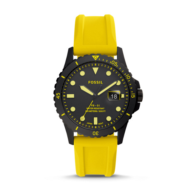 Fb 01 Three Hand Date Yellow Silicone Watch by Fossil